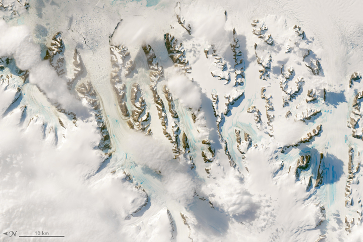 Landsat 8 satellite image of snow and ice on the Antarctic Peninsula