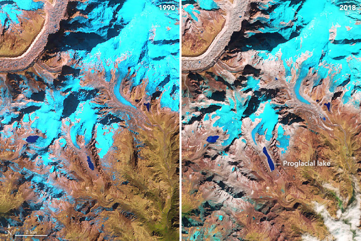Side-by-side false-color images depicting glacial lake at the foot of the Kokthang Glacier
