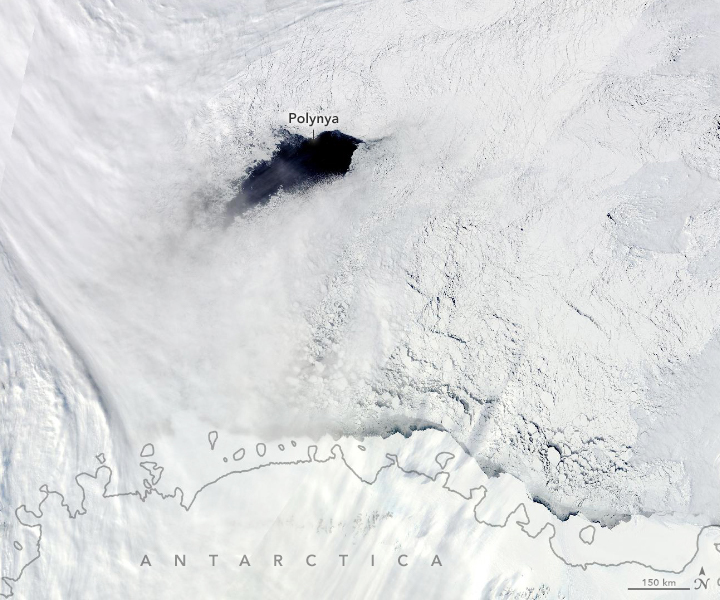 Terra satellite image of the Maud Rise polynya in the eastern Weddell Sea on September 25, 2017.