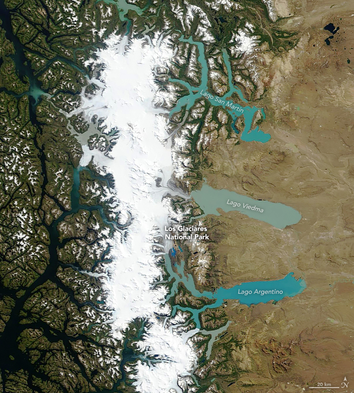 Terra satellite satellite image of the South Patagonian Icefield
