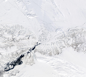Satellite image of collapsed ice arch