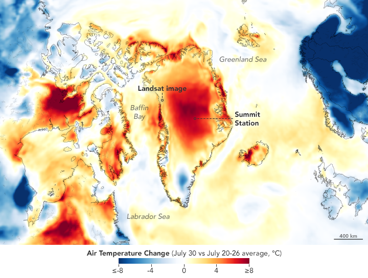 GEOS-5 model image of Air Temperature Change across Greenland July 20 - 30, 2019