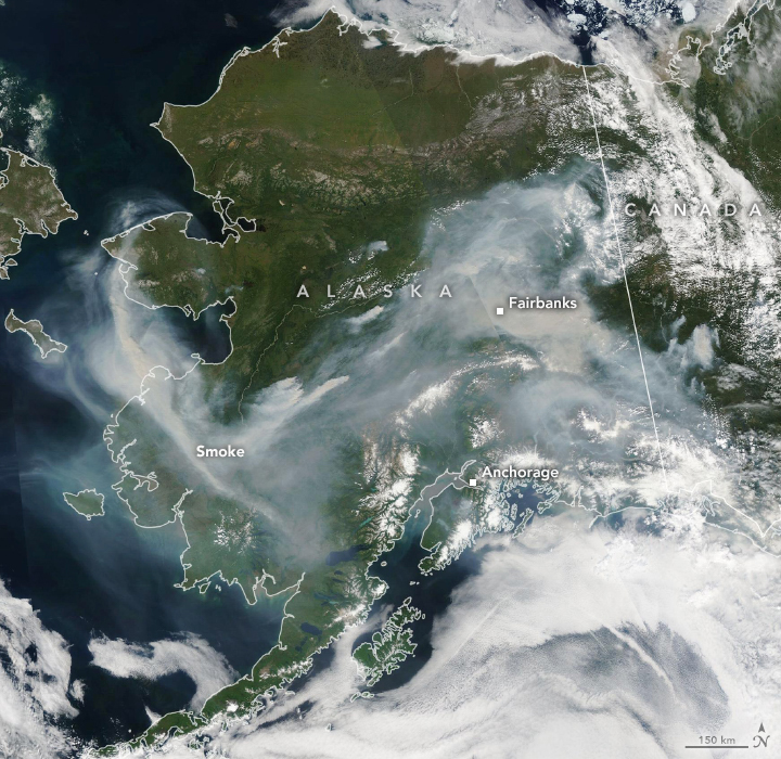 Aqua satellite natural-color image of thick wildfire smoke over Alaska