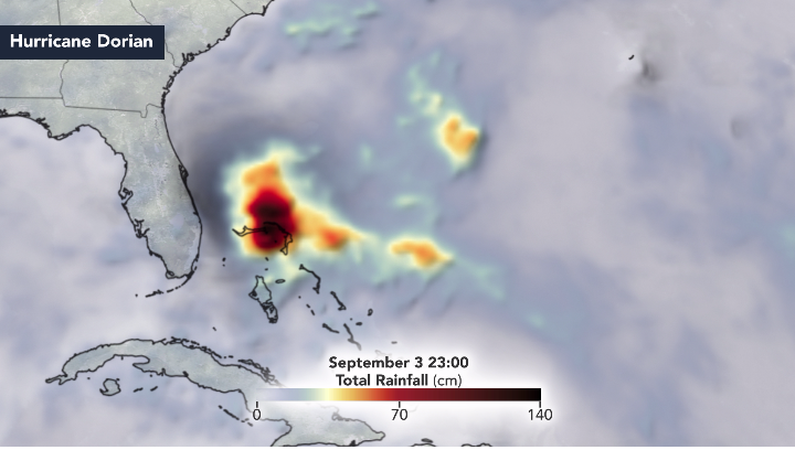 Still from animation depicting rainfall totals over Grand Bahama Island