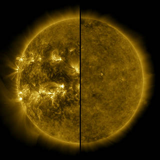 This split image shows the difference between an active Sun during solar maximum and a quiet Sun during solar minimum
