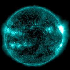 Image of solar flare captured by NASA's Solar Dynamics Observatory on May 22, 2013.