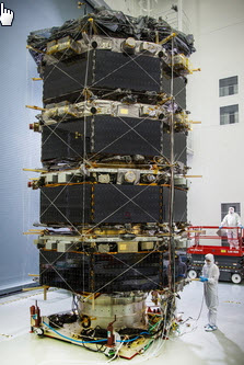 View of the fully stacked MMS prior to being bagged for vibration tests.