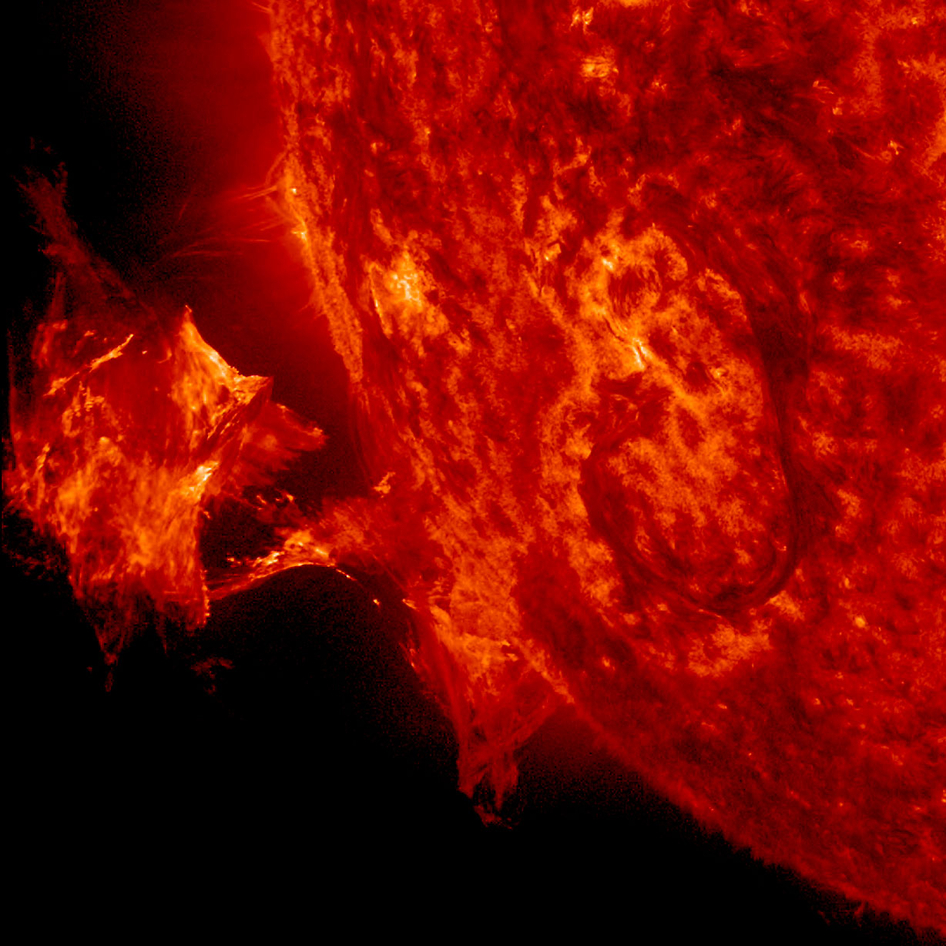 The image is from NASA's Solar Dynamics Observatory, focusing in on ionized Helium at 60,000 degrees C