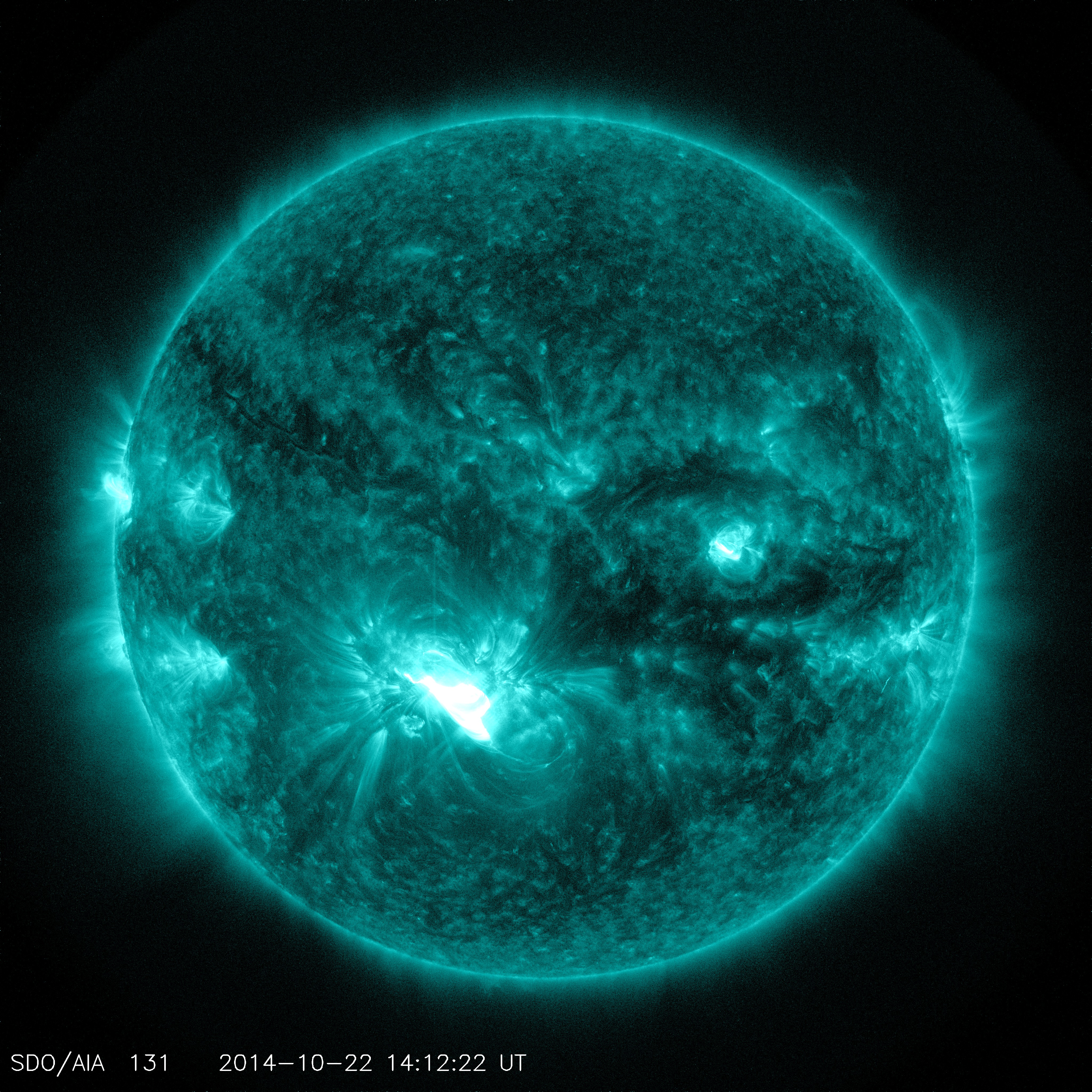 Solar Dynamics Observatory captured images of the third substantial flare from the same region of the sun since Oct. 19.