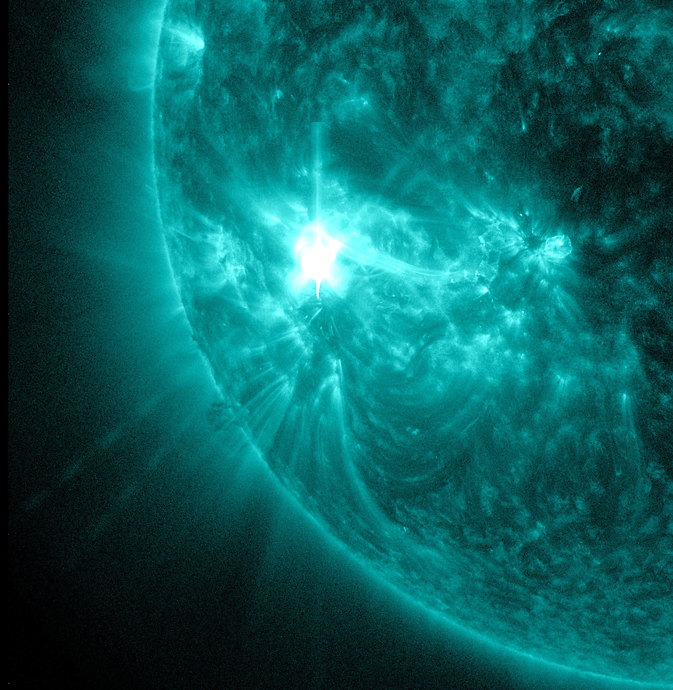NASA's Solar Dynamics Observatory captured this image of a mid-level solar flare, an M5.7 on Nov. 16, 2014.