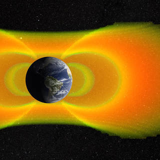 artist's conception of electrons in magnetic field around Earth