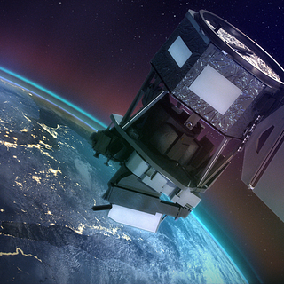 Artist concept of ICON in space observing Earth airglow