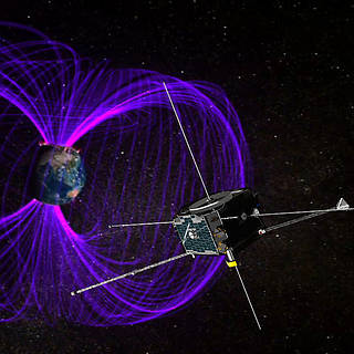 Illustration of three THEMIS satellites and Earth's magnetosphere.