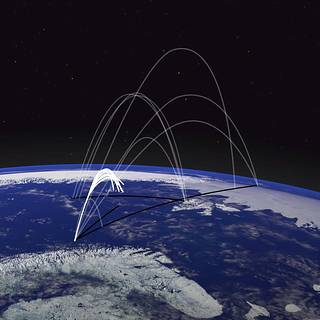 trajectories of several Grand Challenge missions are shown over a portion of the Earth