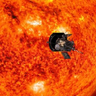 Artist's conception of Parker Solar Probe with the sun as the background