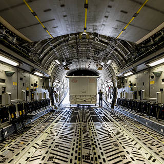 Photo of large case inside a C-17 aircraft