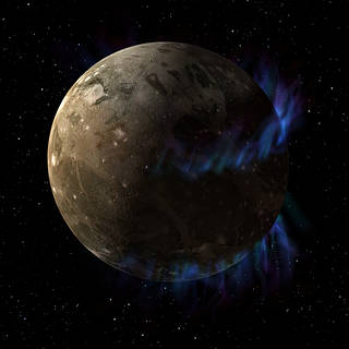 Image of Ganymede, depicted with auroras