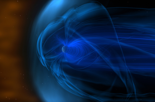 Artist's conception of Earth's magnetic field being deflected by the solar wind
