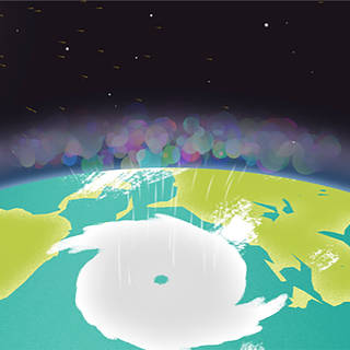 Still image from an animation showing a swirling storm on the surface of the Earth, as seen from space