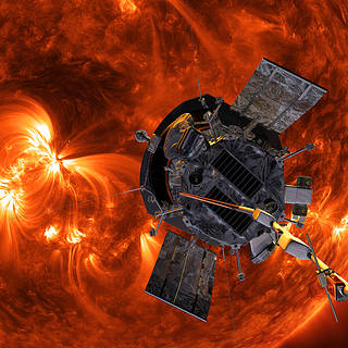 Artist's conception of Parker Solar Probe  with a close-up image of the sun in the background