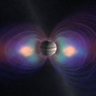 Jupiter is shown with several important components of its magnetosphere in this artist's representation