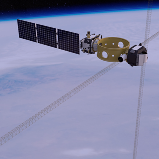Image of SET on the DXS spacecraft shown above the Earth