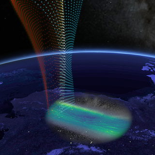 This illustration shows the white-light observations of the fine structure in the aurora superimposed over Alaska.