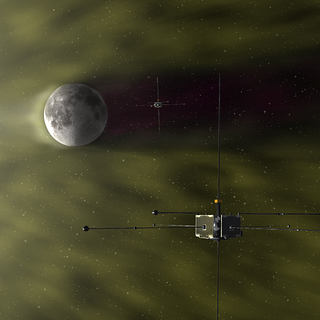 Artist's conception of NASA's twin ARTEMIS spacecraft and the moon.