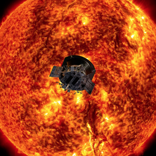 Image of Parker Solar Probe in front of the sun