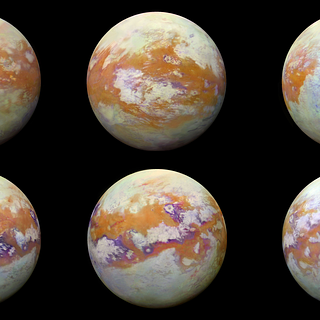 Infrared images of Saturn's moon Titan; some of the clearest global views of the icy moon's surface.