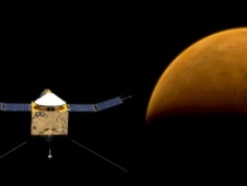 Artist's rendition of the Maven satellite orbiting Mars