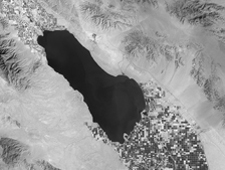 Black and White image of the Salton Sea