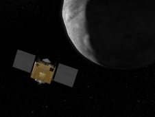 Artist's rendition of OSIRIS-REx orbiting an asteroid.