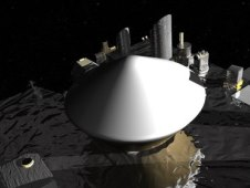 Photo of Artist's concept shows the instrument deck of the OSIRIS REx asteroid sample and return mission.