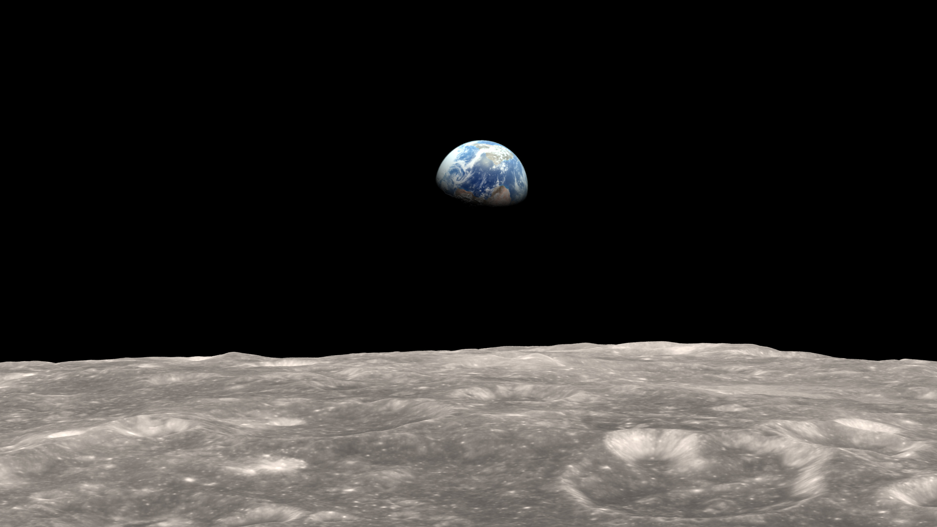 Photo of Illustration of Earth as seen from the moon. The gravitational tug-of-war between Earth and the moon raises a small bulge on the moon. The position of this bulge shifts slightly over time.