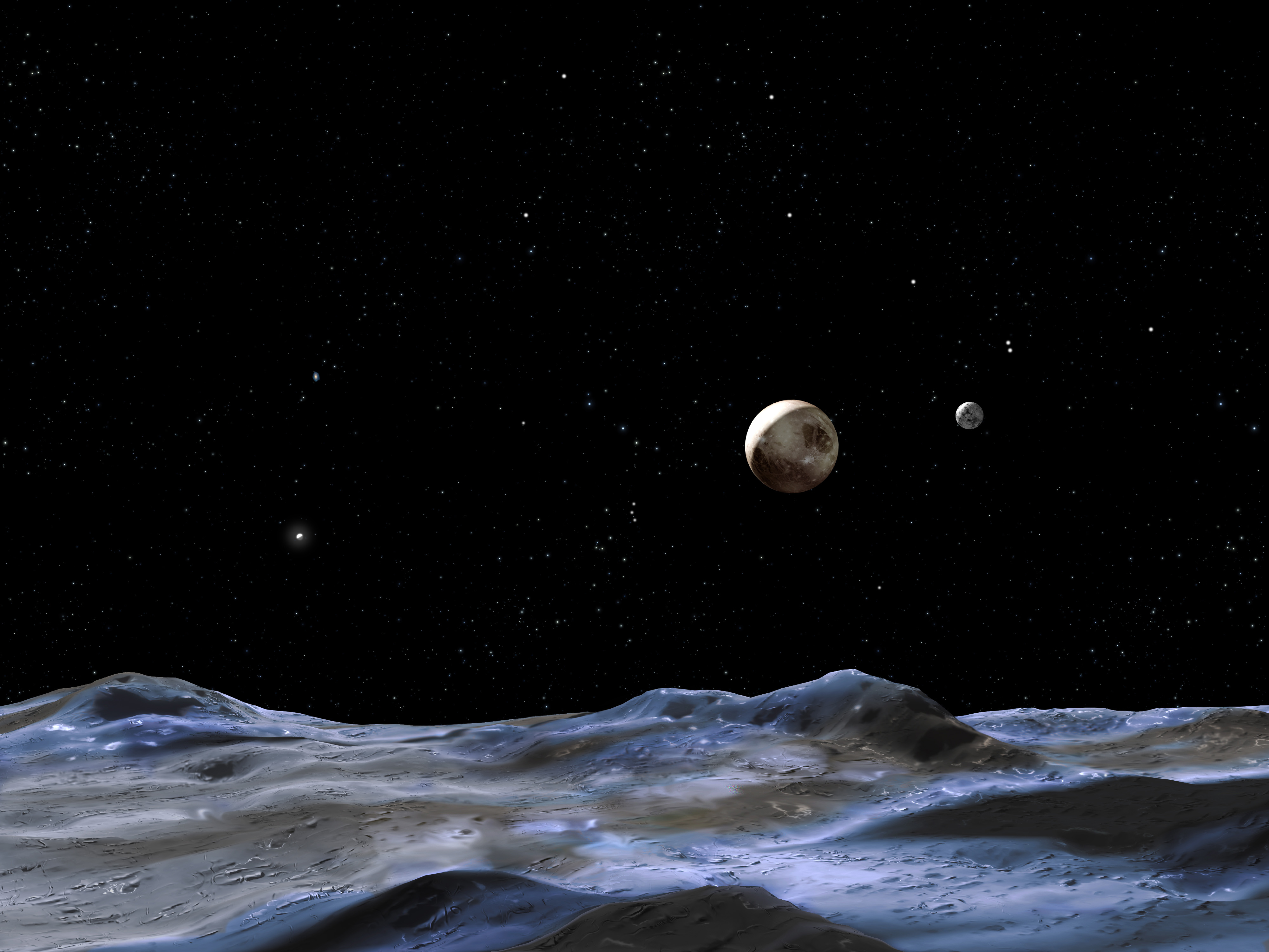 Photo of This artist concept shows Pluto and some of its moons, as viewed from the surface of one of the moons. Pluto is the large disk at center. Charon is the smaller disk to the right.