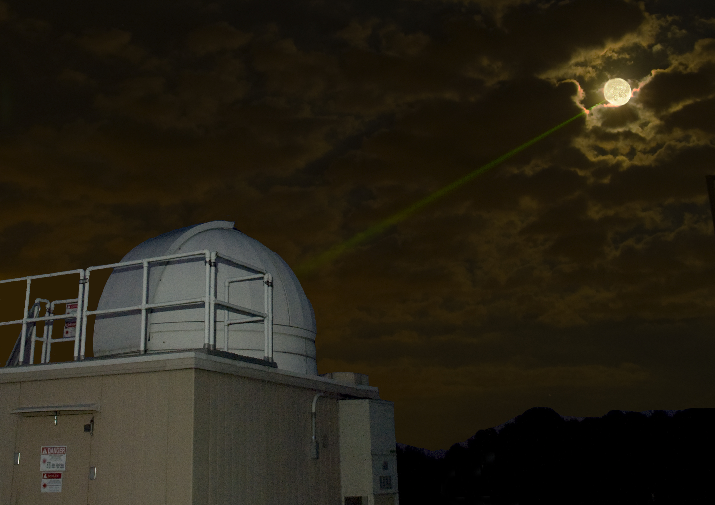 In this 2008 photograph, the laser tracking system for NASA's Lunar Reconnaissance Orbiter was being tested before the mission's launch. Laser ranging from Earth made it possible to track the satellite's position with an accuracy of about four inches (10 centimeters).