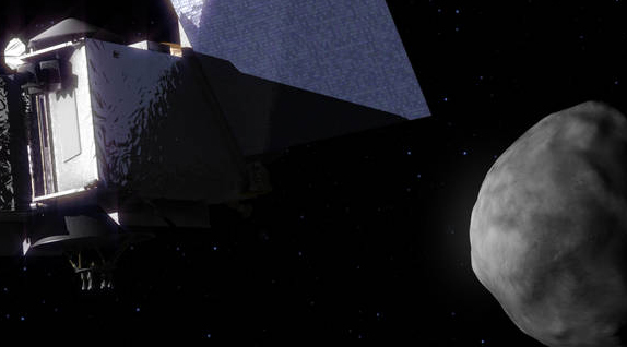 Photo of Illustration of OSIRIS-REx spacecraft approaching the asteroid Bennu