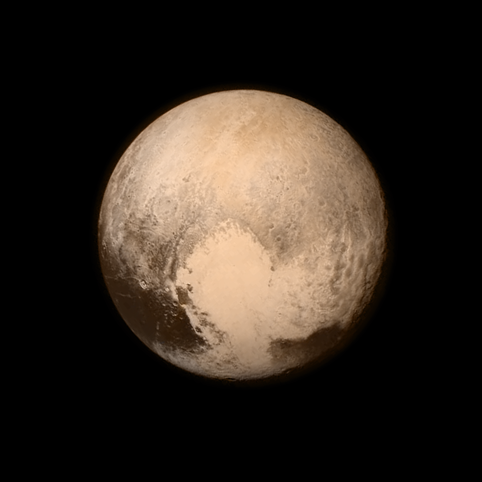 Photo of Color image showing Pluto nearly large enough to fill entire frame.