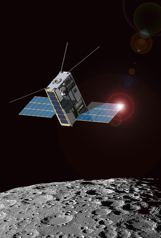 Photo of Artist's depiction of the Lunar IceCube in orbit around the Moon