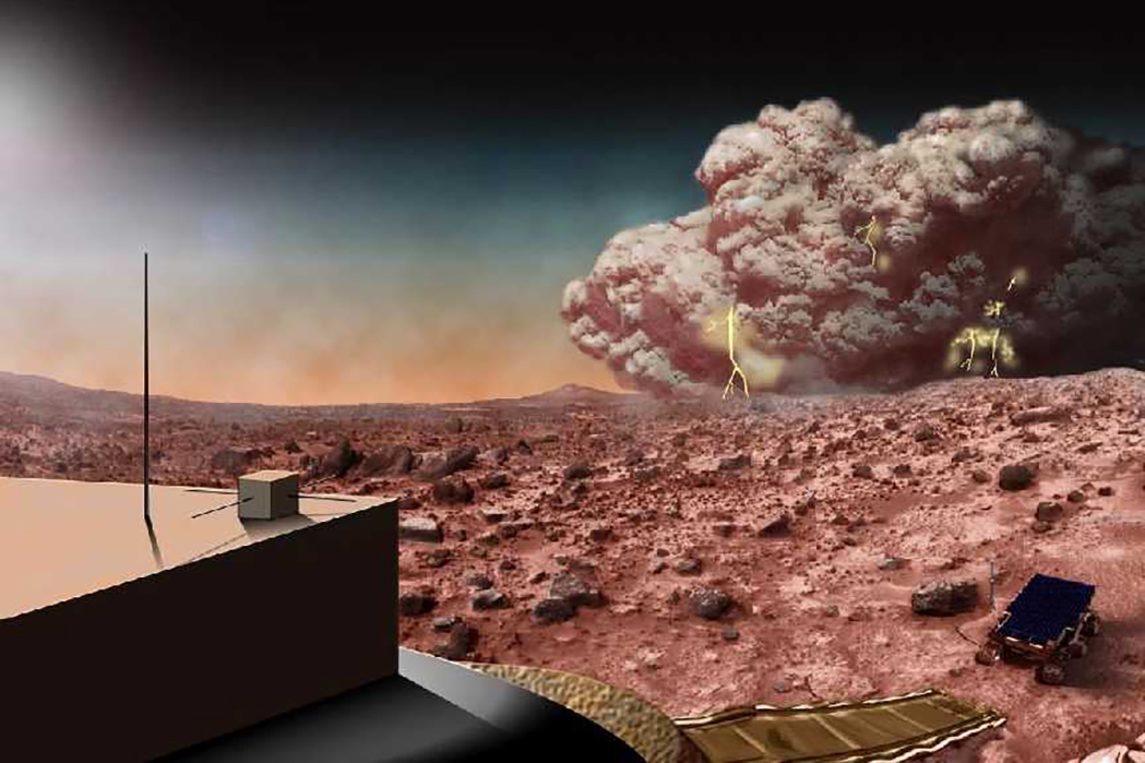 Photo of An artist's depiction of a dust storm on Mars, including a large dust cloud with lightning