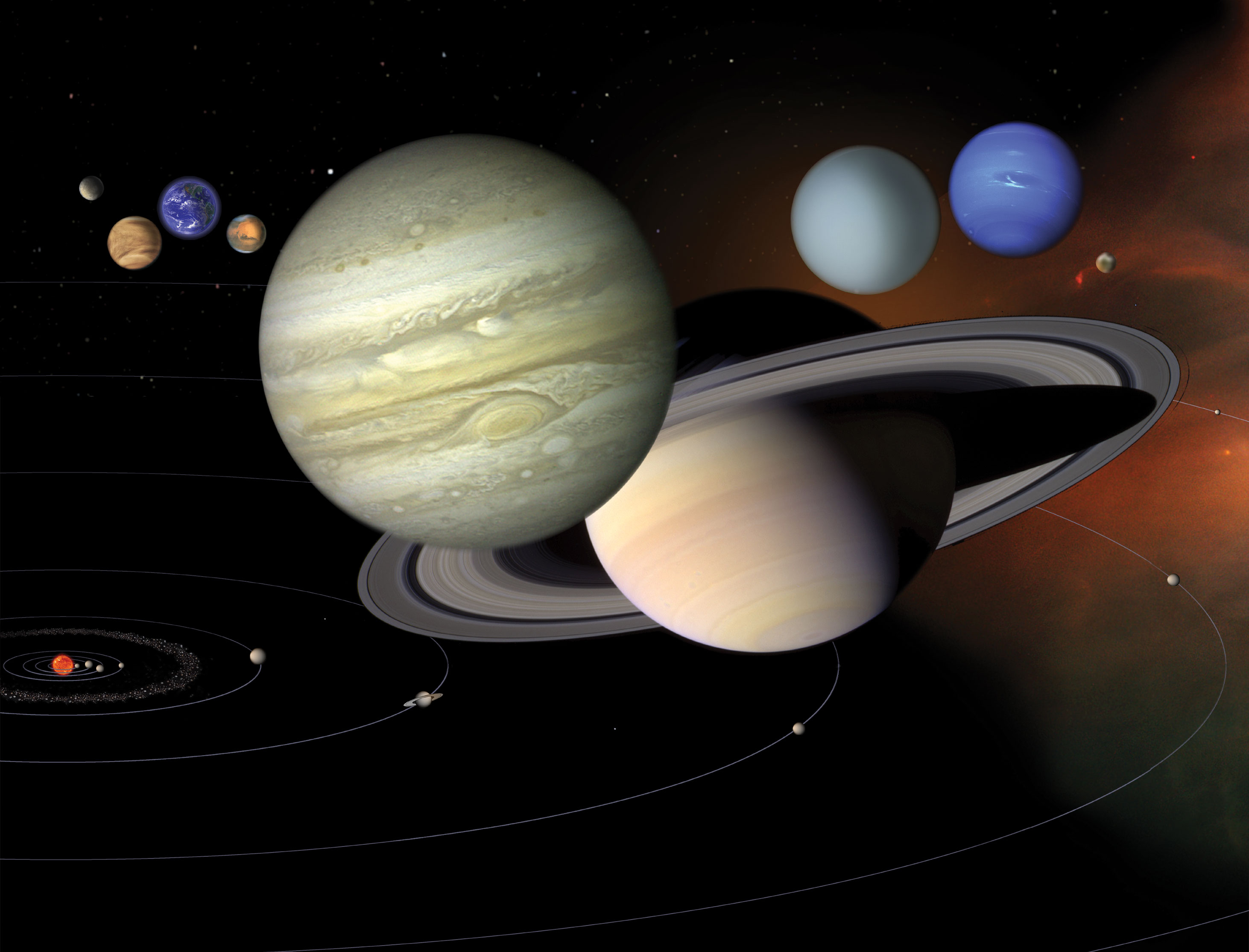 Montage of the planets in the solar system