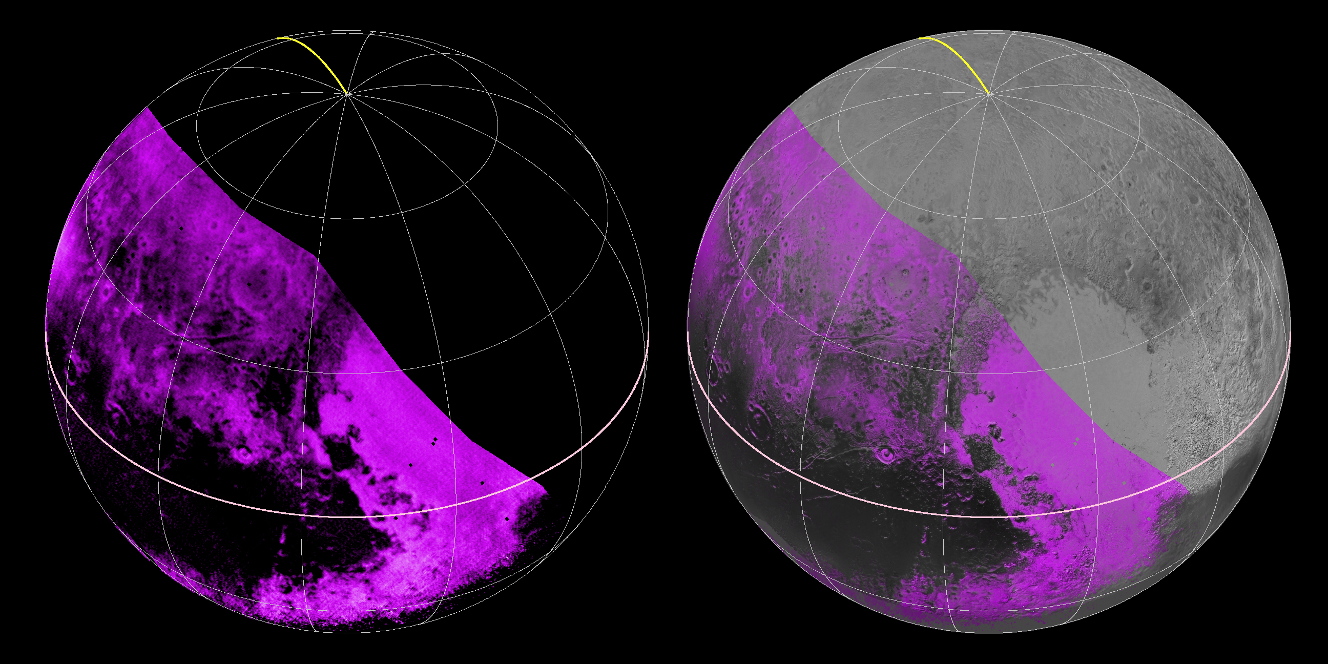 Photo of Two Pluto globes side by side showing the distribution of methane. One globe shows only the distribution of methane; the other includes imagery of the surface.