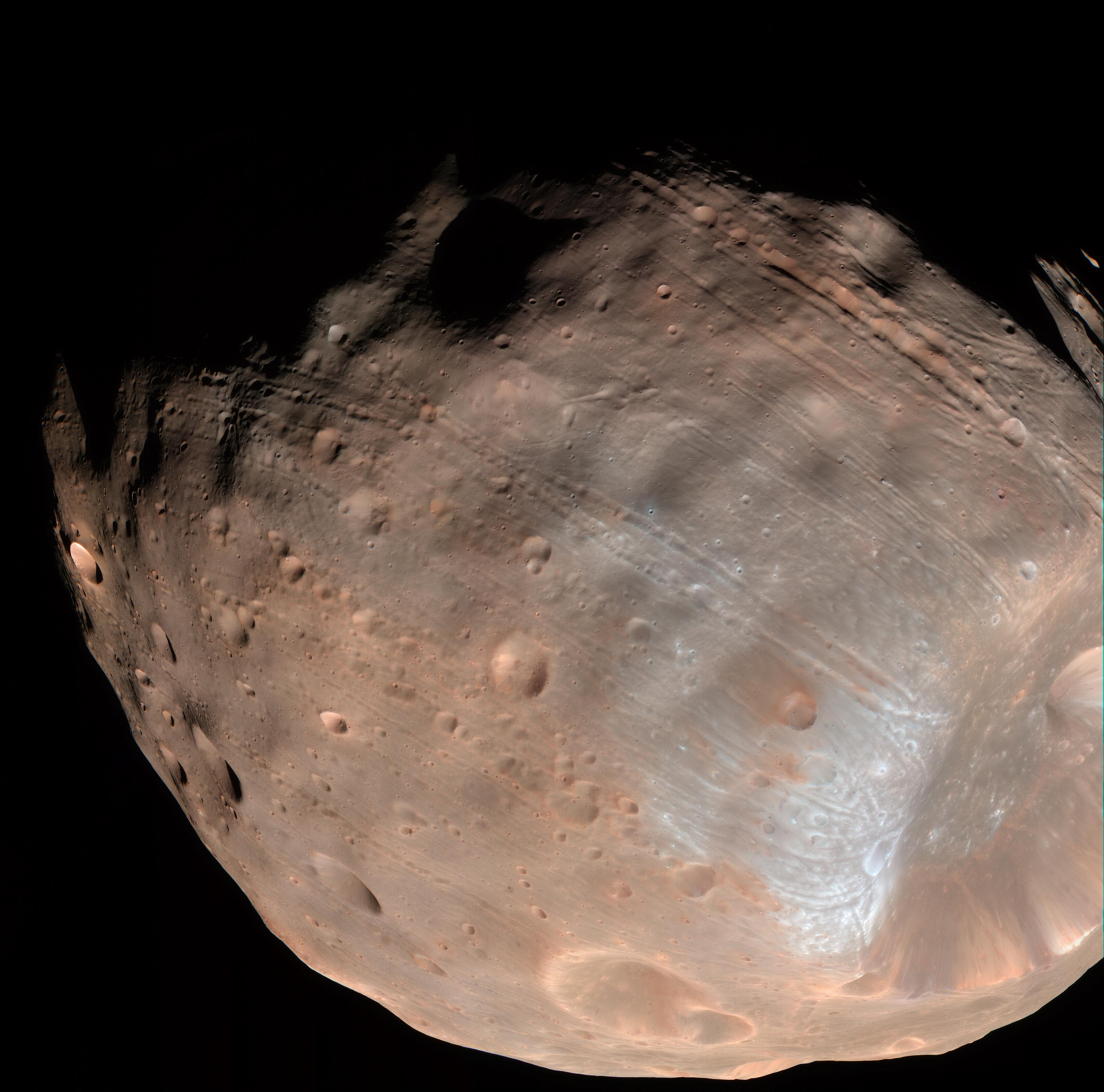 Photo of A color image of Mars' moon Phobos