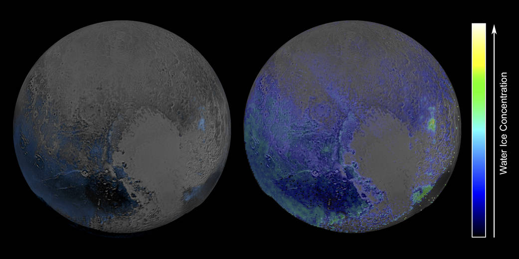 False-color maps showing the distribution of water ice on the surface of Pluto