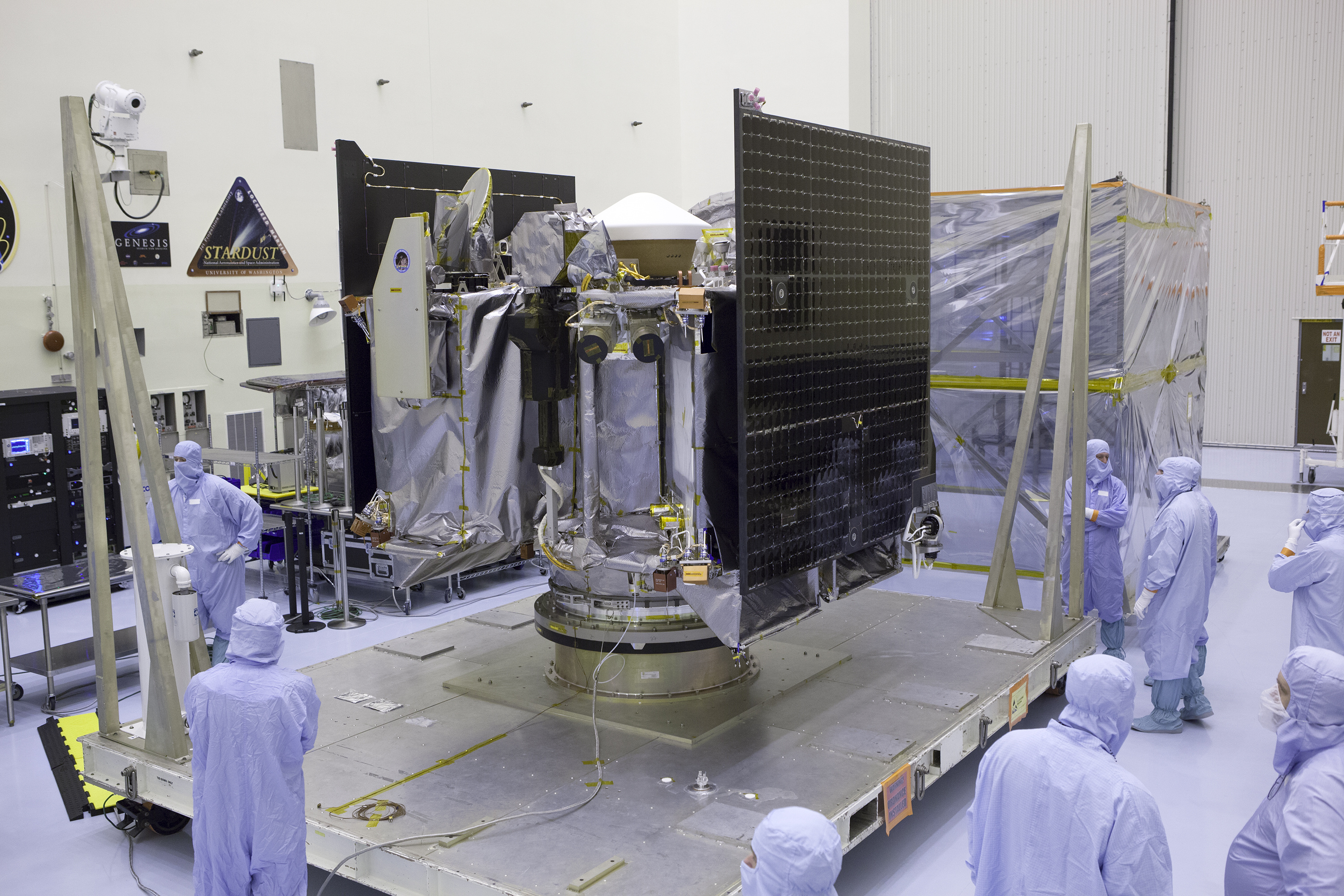 NASA's OSIRIS-REx spacecraft inside the Payload Hazardous Servicing Facility at Kennedy Space Center in Florida