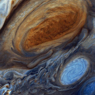 Artistic close-up image of Jupiter's Great Red Spot