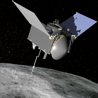 Artist's depiction of the OSIRIS-REx spacecraft approaching asteroid Bennu to collect a sample of material.