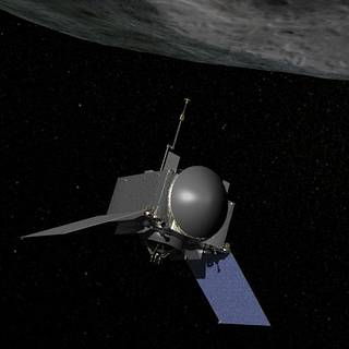 Artist's depiction of the OSIRIS-REx spacecraft approaching asteroid Bennu to take a sample