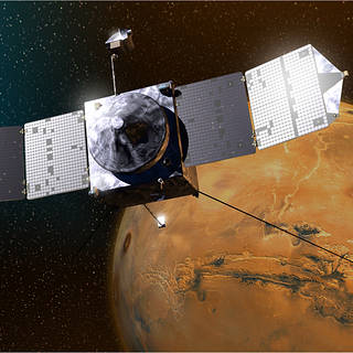 Artist's depiction of MAVEN spacecraft at Mars